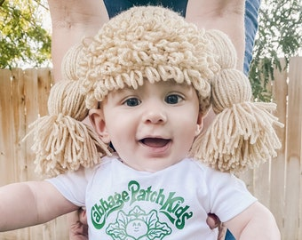 Free Shipping Doll Hat with Patch of Bangs and Hair 4 Baby Girl Toddler Children Adults with Onesie or Tshirt Custom Wig Halloween Costume