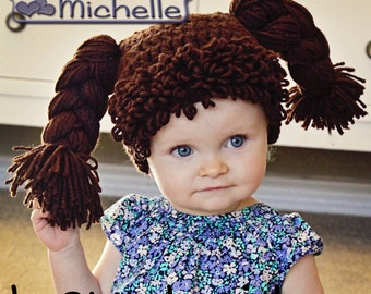 9d752de6b4d Cabbage Patch like Doll Hat and Hair 4 Baby Girl Toddler Children and Adult  Custom Handmade Wig Costume for Christmas