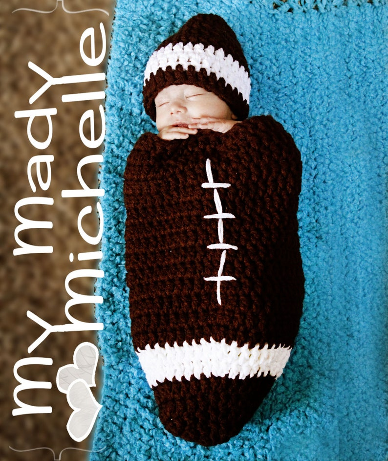 27cbefb90f9 Infant Crochet Football Cocoon Foot Ball Hat great for