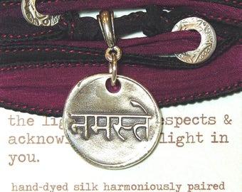 Sanskrit Namaste Silk Bracelet