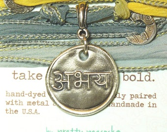 Sanskrit Abhaya Fearlessness Silk Bracelet