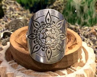 Positivity Mandala Ring Fully Adjustable Silver Boho Festival Urban Hippie