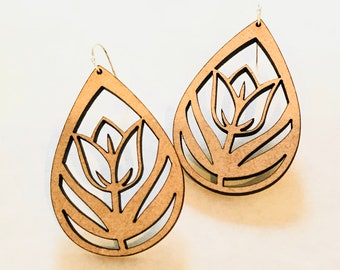 Wood Tulip Earrings - Eco-friendly Fashion