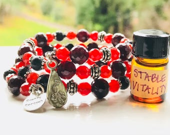 Garnet + Carnelian Essential Oil Diffuser Gemstone Fully Adjustable Bracelet w/ Sample Essential Oil Aromatherapy Blend