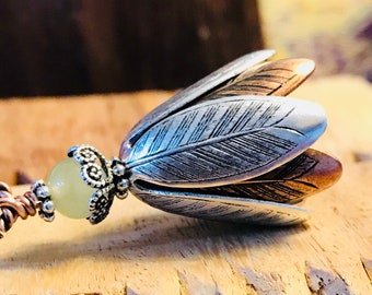 Bloom - Silver and Copper Essential Oil Diffuser Pendant with Jade Gemstone on Vegan Suede Cord