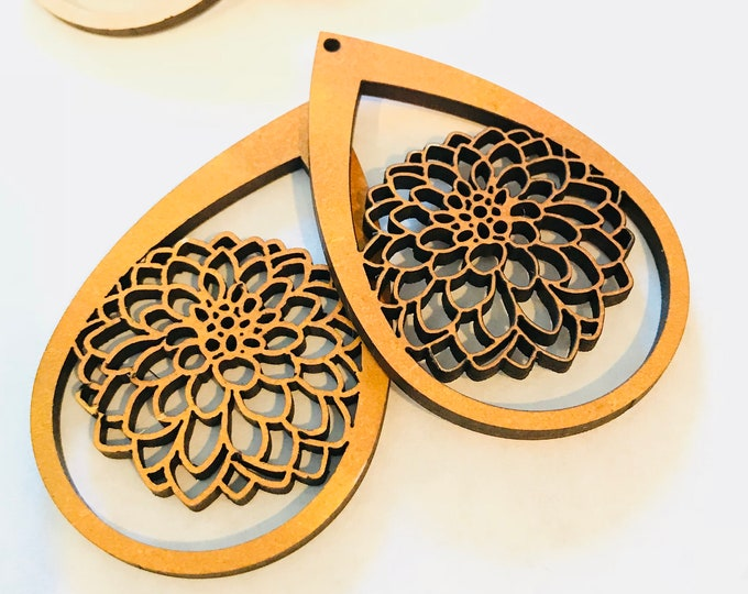 Featured listing image: Wood Dahlia Earrings - Eco-friendly Fashion Besties, Sisters, Mom, LDR, 5th Anniversary