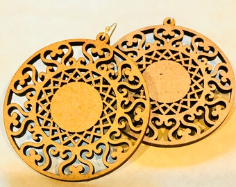 Wood Mandala Design ONE Earrings - Eco-friendly Fashion Besties, Sisters, Mom, LDR, 5th Anniversary