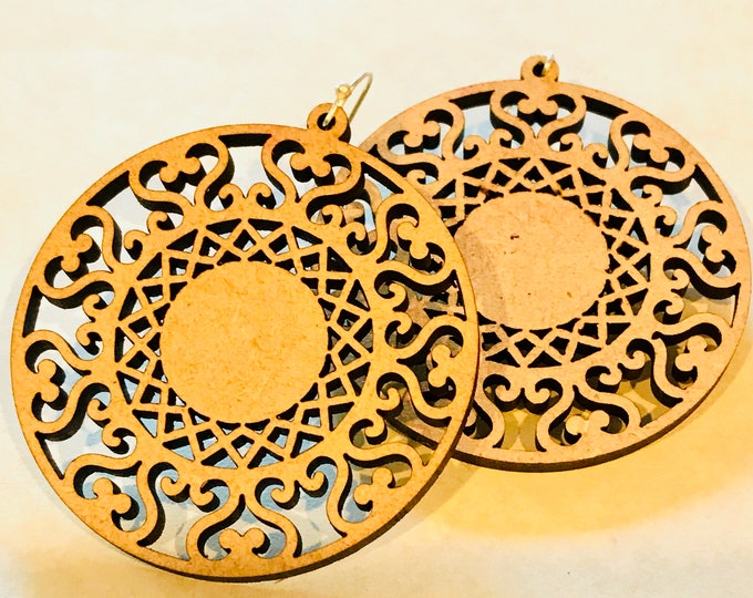 Featured listing image: Wood Mandala Design ONE Earrings - Eco-friendly Fashion Besties, Sisters, Mom, LDR, 5th Anniversary
