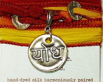 LIQUIDATION:  Sanskrit Yodha Warrior Silk Bracelet Yoga Boho Festival Jewelry
