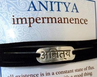 LIQUIDATION Ready to Ship Sanskrit Imitation Leather Wrap Bracelets Anitya Impermanence