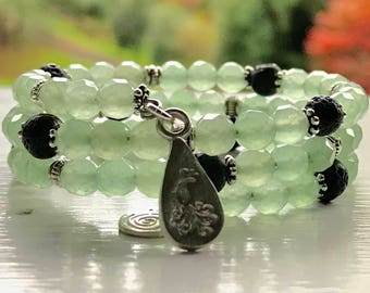Fully Adjustable SPARKLING Green Aventurine Essential Oil Diffuser Bracelet with Sample Essential Oil Blend Aromatherapy