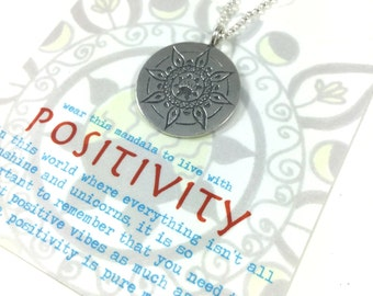 Positivity Hand Drawn Mandala Pendant