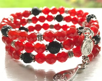 Fully Adjustable SPARKLING Carnelian Essential Oil Diffuser Bracelet w/ Sample Chin Up Buttercup Leadership Essential Oil Blend
