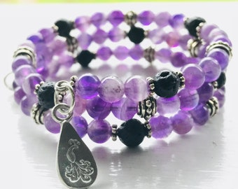 Flower Amethyst Essential Oil Diffuser Gemstone Fully Adjustable Bracelet with Sample Essential Oil Aromatherapy Blend