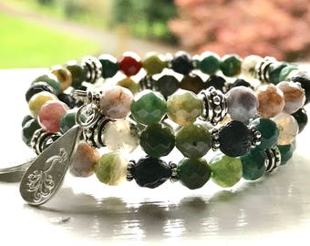 SPARKLING Jasper Essential Oil Diffuser Gemstone Fully Adjustable Bracelet w/ Sample Essential Oil Aromatherapy Blend