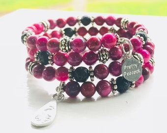 Fully Adjustable Fuchsia Agate Essential Oil Diffuser Bracelet with Sample  Essential Oil Blend Aromatherapy