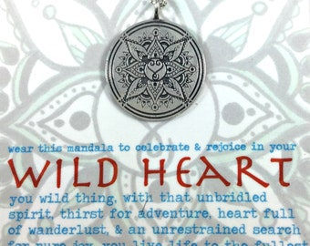 Wild Heart Mandala Pendant Boho Yoga Lifestyle Festival Jewelry Hand drawn and solid sterling silver pendant