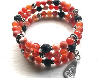 Fire Crackled Agate Essential Oil Diffuser Gemstone Fully Adjustable Bracelet w/ Sample Essential Oil Aromatherapy Blend