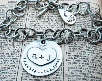 PERSONALIZED You Plus Me Personalized Charm Bracelet with Latitude and Longitude