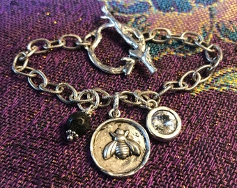 Queen Bee Link Bracelet Essential Oil Diffuser Jewelry Boho Chic Festival Jewelry Healing