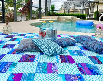 Wanderlust Gulf Cool Quilt // Camping //Snuggle Blanket // Wedding Gift // Lovers Quilt // Stargazing// Machine Quilted // Free Shipping