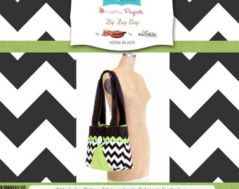 "Riley Blake Designs Brand ""Sew Together"" Kit Zig Zag Bag Black // DIY // Project // Summer Camp // Pattern // Instructions //Directions"