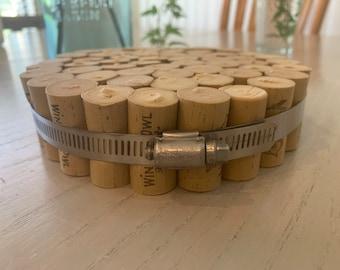 Upcycled Cork Trivet // Home Decor // Dining // Minimalist // Natural // Metal // Housewarming Gift // Hostess // Birthday // Anniversary