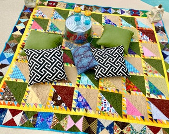 Wanderlust Vintage Quilt // Camping //Snuggle Blanket // Wedding Gift // Lovers Quilt // Stargazing// Machine Quilted // Free Shipping