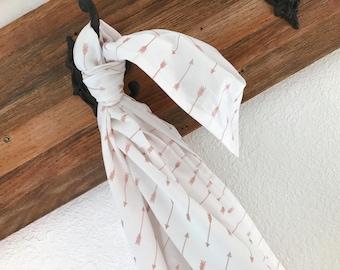 Riley Blake Rose Gold Arrows Blanket Swaddler Light // Receiving Blanket // Newborn Baby // Gift// Cotton // Swaddle Blanket, FREE SHIPPING