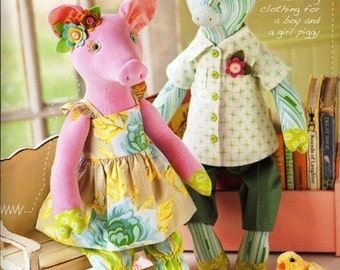 Heather Bailey Clara and Clancy Pig Dolls Sewing Pattern, FREE SHIPPING