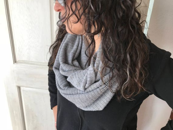 8be594bacb9ea6 Items similar to Sweater Knit Infinity Scarf Grey Telio Chalet    Ribbed     Gray    Fall Fashion    Cowl on Etsy
