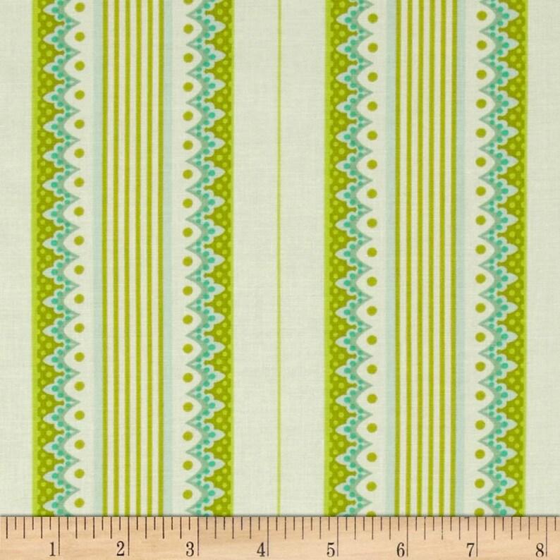 Heather Bailey Lottie Da Carousel Stripe Olive Fabric 1 Yard image 0