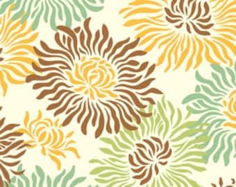Heather Bailey Freshcut Graphic Mums Brown Fabric, 1 Yard