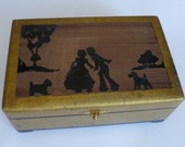 Scottie Dog, Jewelry Box, Silhouette art, golden jewel case, lined hinged box, Jewel box, 6 1 2 quot x10 quot x3 1 2 quot , trinket storage, Silhouettes