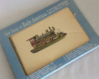 """Early American Locomotives, color prints, 5 1/2"""" x 8 1/2"""" prints, pack of 8 trains, 1950 Autoprints, train collector, boys room decor"""