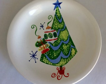 Christmas plate, midcentury dish, Xmas  plate, tree ornaments, red green blue, DesignPac, Christmas gift, 6 1/4 inch dish, Xmas dish