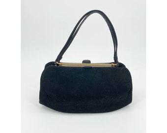 Vintage Saks Fifth Avenue Velvet Bag Structured Mirror Coin Purse Lined Black