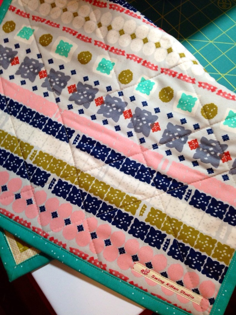 Quilted Table Runner Colorful Runner Star Table Runner Quilted Table Mat Patchwork Table Mat Table Topper Cheery Table Mat Bright Runner