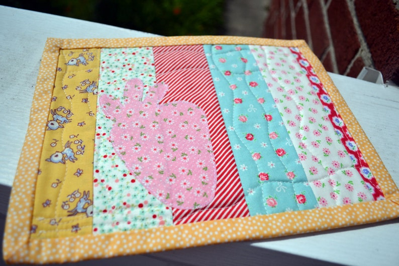 Strawberry applique mini quilt mug rug quilted snack mat etsy