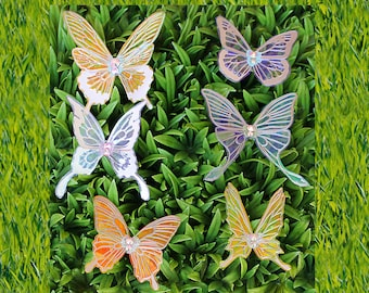 Set of 6 Small Cellophane Butterflies, Butterfly, Decoration, Headpiece, Wedding, Bridal, Costume, 2 Inch Wingspan, 3 Inch Wingspan, Silver