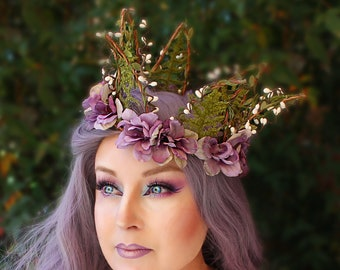 Forest Fantasy Crown with Lavender Flowers, Flower Crown, Floral Crown, Butterfly Crown, Headpiece, Fairy, Renaissance, Costume