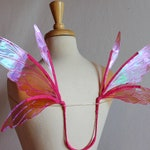 Fairy wings, Cellophane, Raspberry, Pink Iridescent, Adult sized, Handmade, Costume, fairy photography, cosplay, Halloween, festival, Lily
