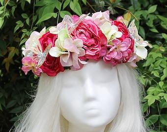 Pink Flower Crown, Butterfly, Flower Crown, Floral Crown, Headpiece, Fairy, Renaissance, Costume
