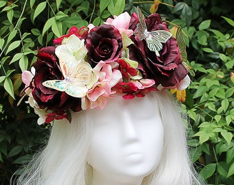 Red and Pink Flower Crown, Butterfly, Flower Crown, Floral Crown, Headpiece, Fairy, Renaissance, Costume