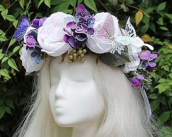 White and Purple Flower Crown, Butterfly, Purple, Flower Crown, Floral Crown, Headpiece, Fairy, Renaissance, Costume