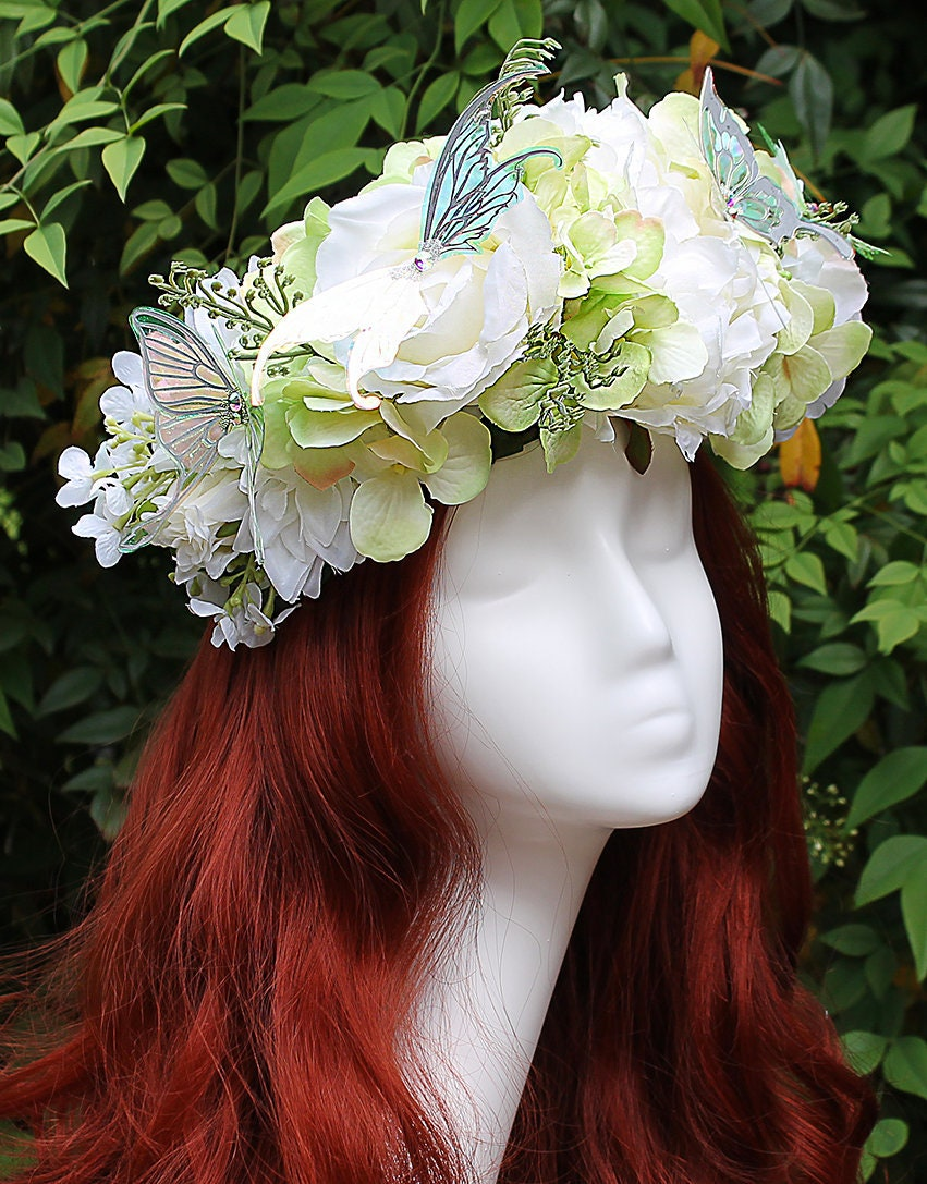 White And Pale Green Flower Crown Butterfly Purple Flower Etsy
