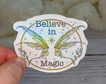 Holographic Fairy Sticker, Fairy Wings, Water Resistant Sticker, Cute Sticker, Holographic Sticker,Watercolor Sticker, Glitter Decal, Kawaii