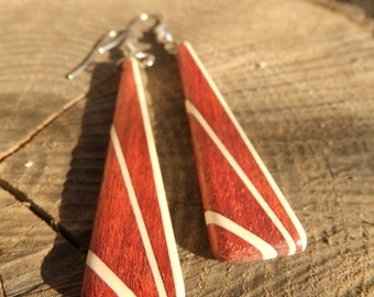 Deco Inspired Earrings - Bloodwood and Holly