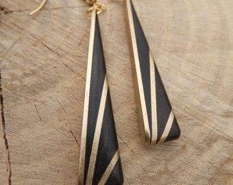 Deco Inspired Earrings - Ebony and Brass