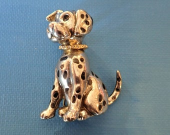ENAMEL Vintage full bodied Silver Dalmatian Dog pin brooch with ORIGINAL rhinestone gold COLLAR.  Large pin with safety clasp.